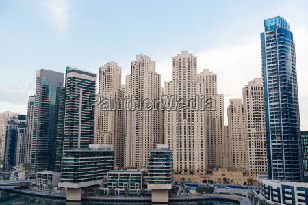 dubai city business district with skyscrapers