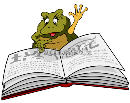 frog reading book