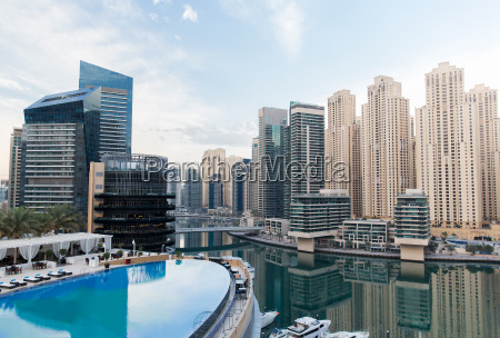dubai city seafront with hotel infinity