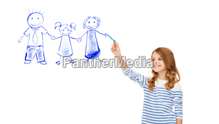 girl drawing family in the air