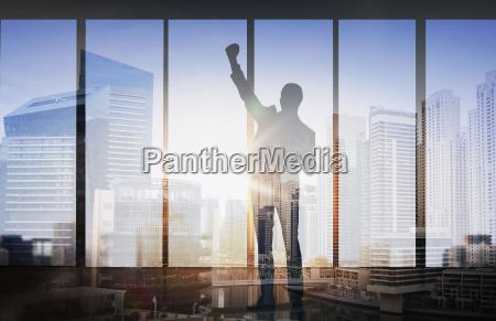 silhouette der geschaefts stadt hintergrund mann
