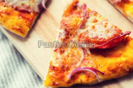 close up of homemade pizza slice