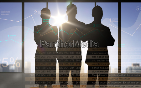 business people silhouettes with chart and