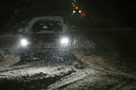 snowfall on streets