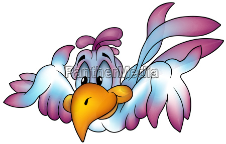 flying blue eyed parrot