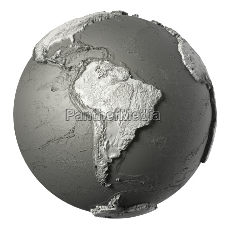 3d globe suedamerika