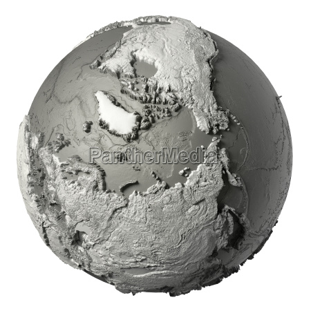 3d globus nordpol