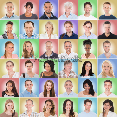 group of people on colored background