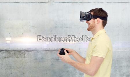 man in virtual reality headset and