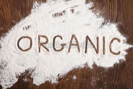 organic written on flour