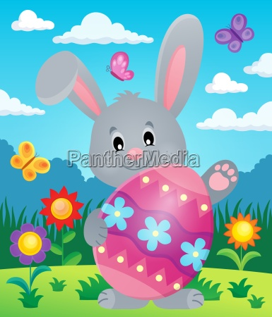 stylized bunny with easter egg theme