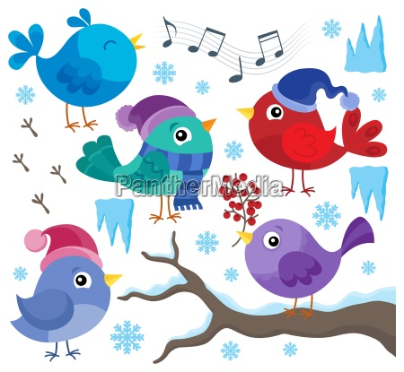 winter birds theme set 1