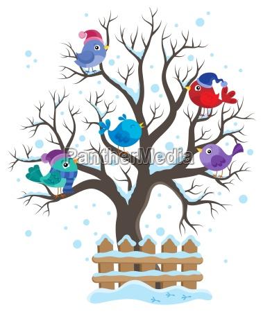 winter tree with birds theme image