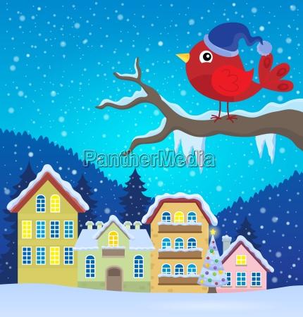 stylized winter bird theme image 2