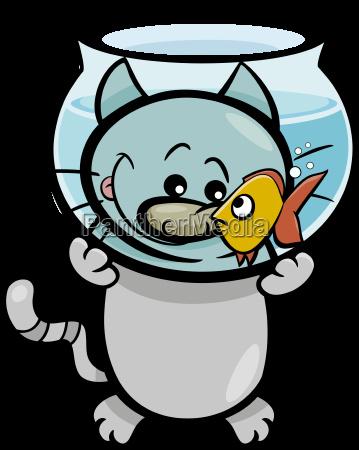 cat and fish cartoon