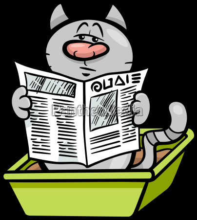 cat in litter box cartoon