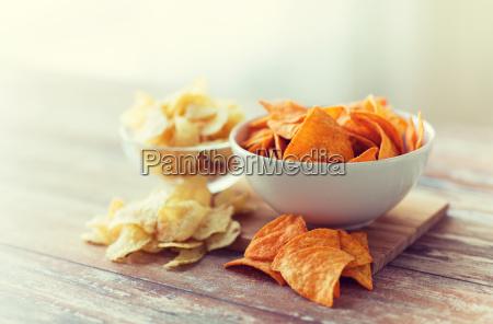 close up of potato crisps and