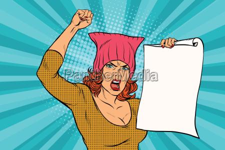 frau feministische protest bei der kundgebung