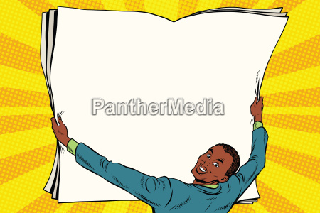 businessman shows blank paper poster