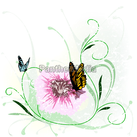 grunge floral and butterfly