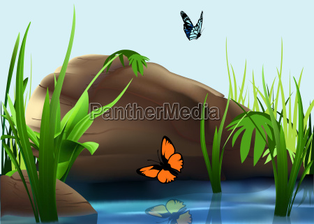 butterflies over a pond background
