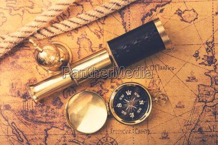 vintage navigation equipment on old world