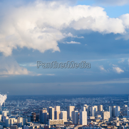 blue sky with clouds over urban