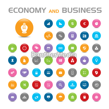economy and business buble icons on