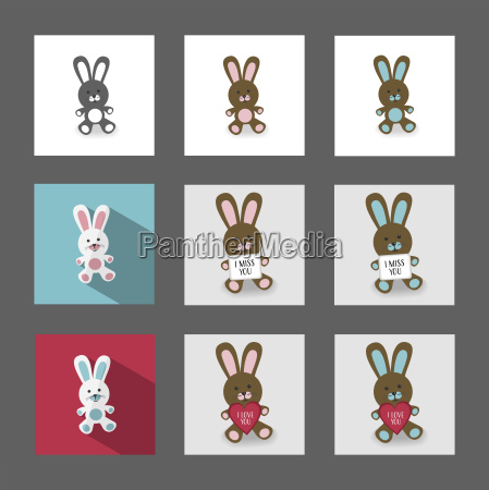 bunnies with messages illustration