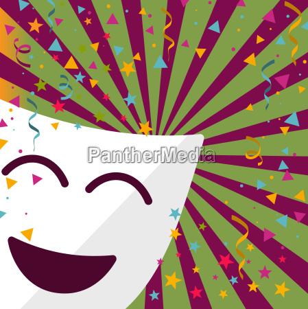 karneval maske mit konfetti sterne und