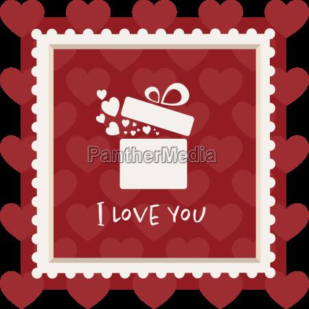 valentines karte mit einem geschenk in