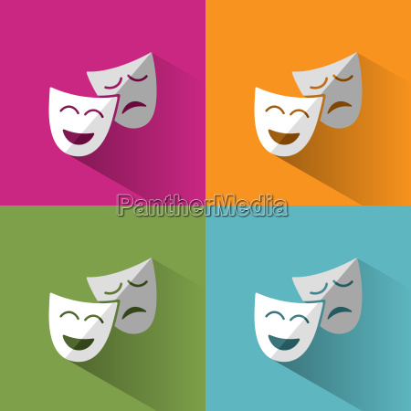 masks icon with shadow on backgrounds