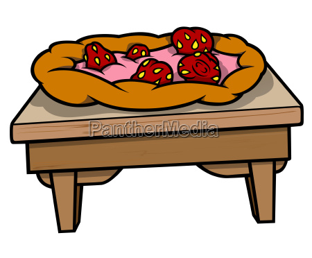 table with strawberry pie