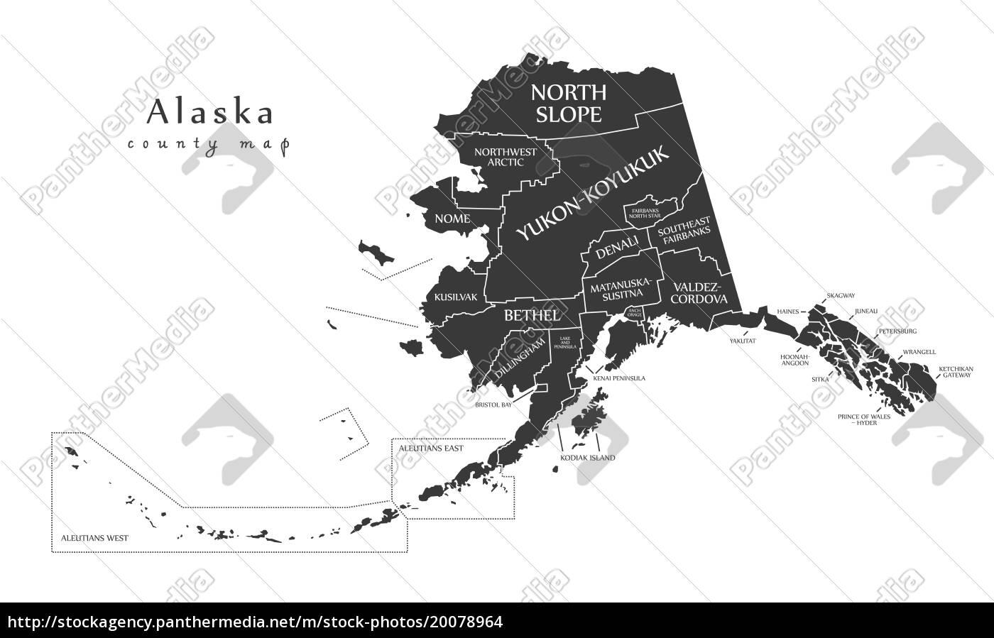 moderne karte-alaska county map mit den etiketten usa - Lizenzfreies ...