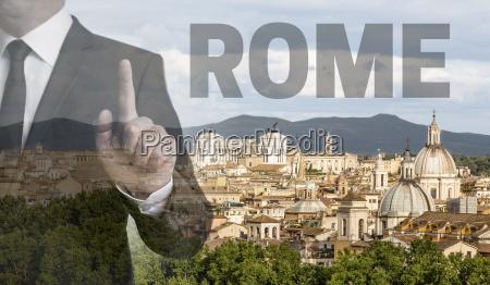 rom skyline bei tag mit geschaeftsmann