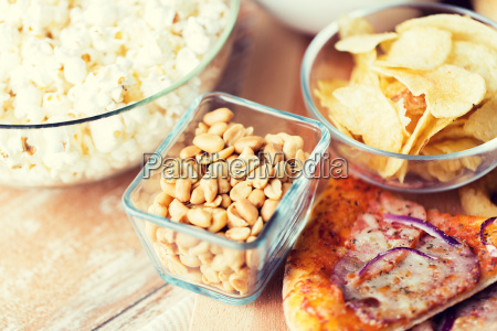 close up of fast food snacks