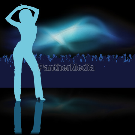 blue silhouetted woman dancing