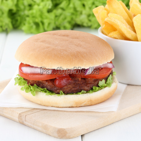 hamburger and french fries meat tomato