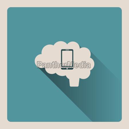 gehirn auf dem smartphone illustration auf