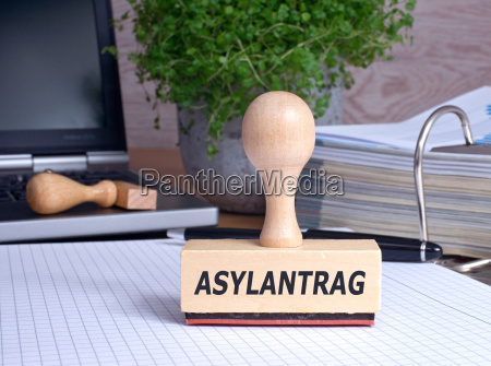asylum application stamp in the office
