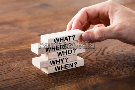 set of questions on wooden block