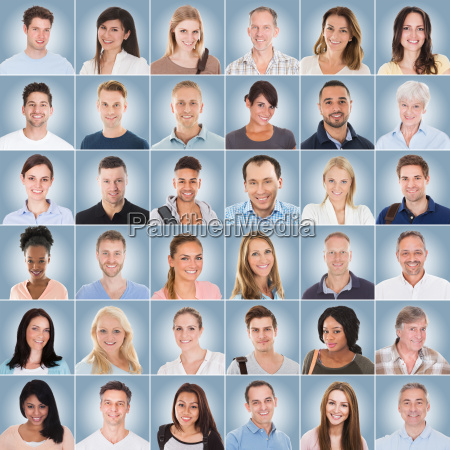 collage of people on blue background