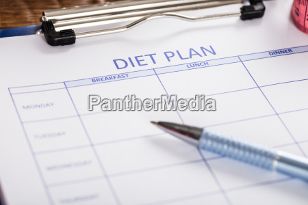 close up of diet plan form