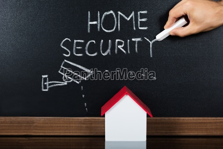 house model with home security concept
