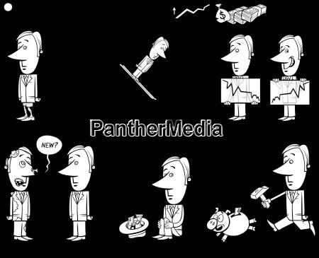 business cartoon metaphor set