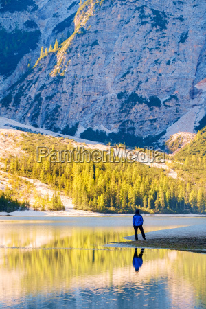 man traveler standing alone braies