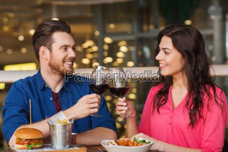 glücklich, paar, essen, und, trinken, wein - 20139995