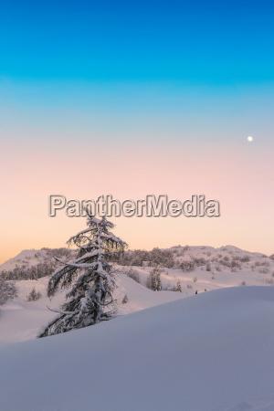 magischer sonnenuntergang winter in den julischen