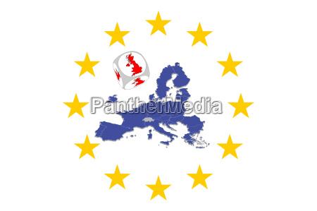 europakarte mit brexit wuerfel