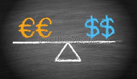 euro und dollar balance konzept
